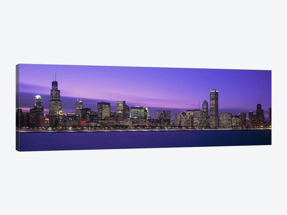 Downtown Skyline At Dusk, Chicago, Illinois, USA by Panoramic Images 1-piece Canvas Wall Art