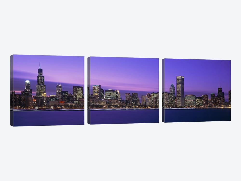 Downtown Skyline At Dusk, Chicago, Illinois, USA by Panoramic Images 3-piece Canvas Artwork