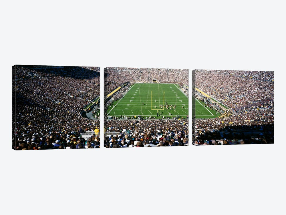 Aerial view of a football stadium, Notre Dame Stadium, Notre Dame, Indiana, USA by Panoramic Images 3-piece Canvas Print