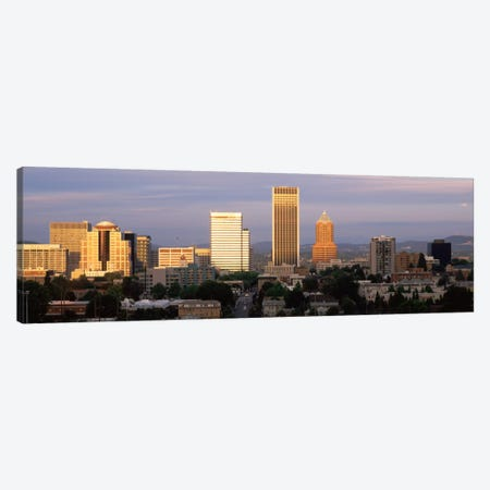 Cityscape at sunset, Portland, Multnomah County, Oregon, USA Canvas Print #PIM2004} by Panoramic Images Canvas Artwork