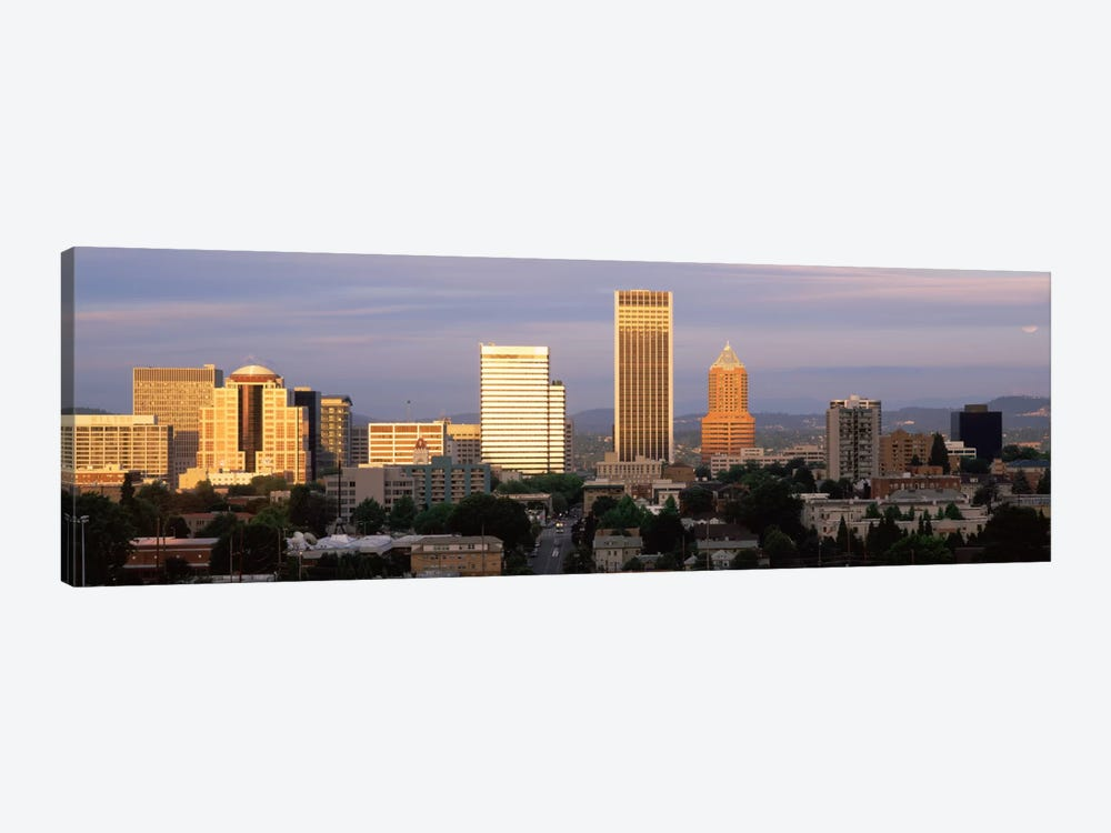 Cityscape at sunset, Portland, Multnomah County, Oregon, USA by Panoramic Images 1-piece Canvas Wall Art