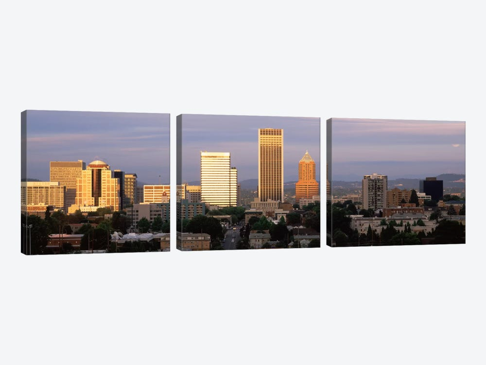 Cityscape at sunset, Portland, Multnomah County, Oregon, USA by Panoramic Images 3-piece Canvas Artwork