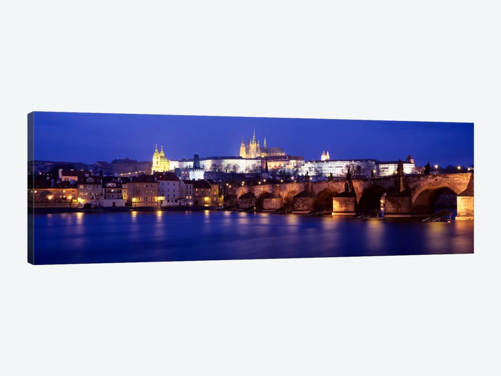 St. Vitus Cathedral & Charles Bridge As Seen From The Banks Of The Vltava River, Prague, Czech Republic by Panoramic Images 1-piece Art Print