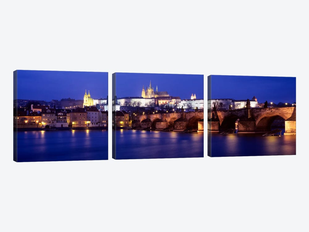 St. Vitus Cathedral & Charles Bridge As Seen From The Banks Of The Vltava River, Prague, Czech Republic by Panoramic Images 3-piece Canvas Art Print