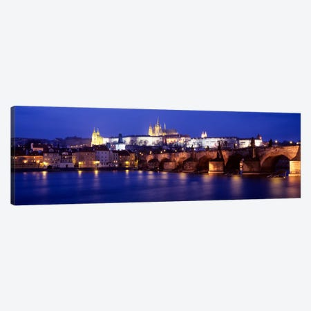 St. Vitus Cathedral & Charles Bridge As Seen From The Banks Of The Vltava River, Prague, Czech Republic 3-Piece Canvas #PIM2012} by Panoramic Images Canvas Wall Art