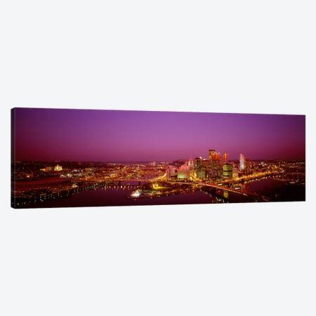 High angle view of buildings lit up at night, Three Rivers Stadium, Pittsburgh, Pennsylvania, USA Canvas Print #PIM2017} by Panoramic Images Art Print