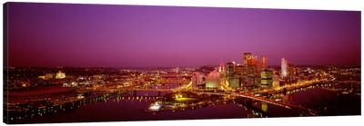 High angle view of buildings lit up at night, Three Rivers Stadium, Pittsburgh, Pennsylvania, USA Canvas Art Print