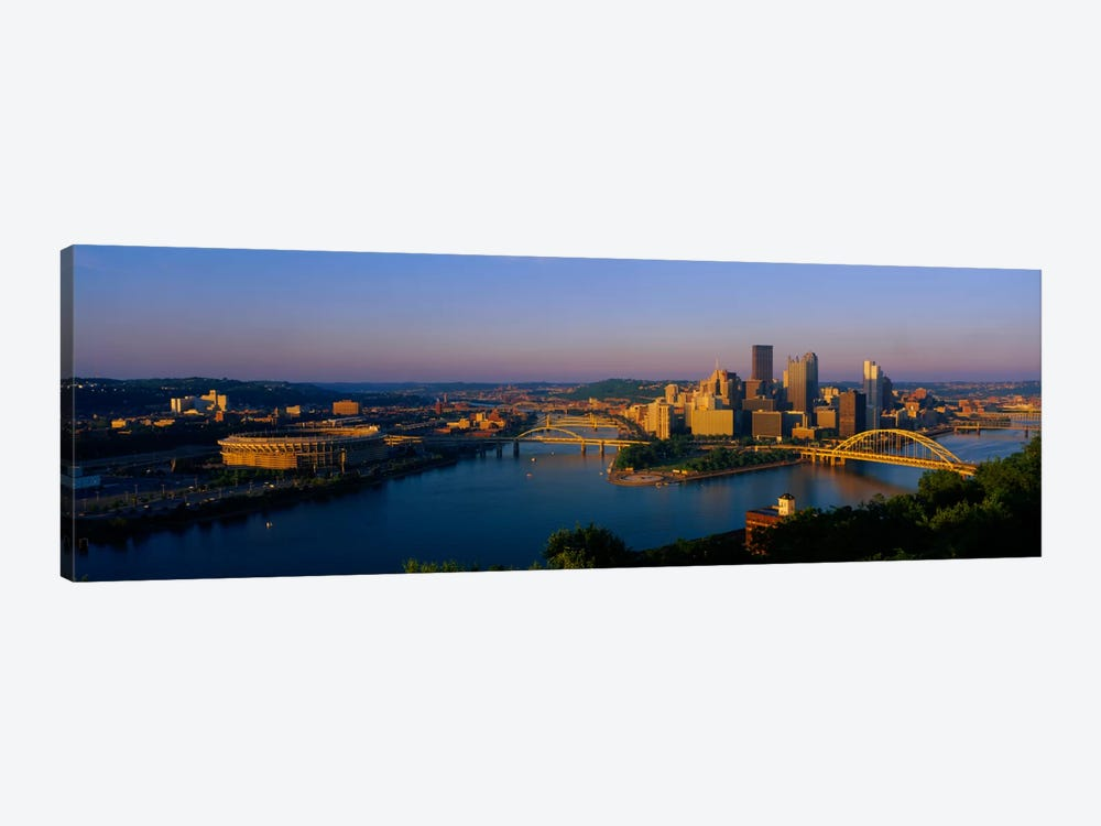 High angle view of a cityThree Rivers Stadium, Pittsburgh, Pennsylvania, USA by Panoramic Images 1-piece Art Print