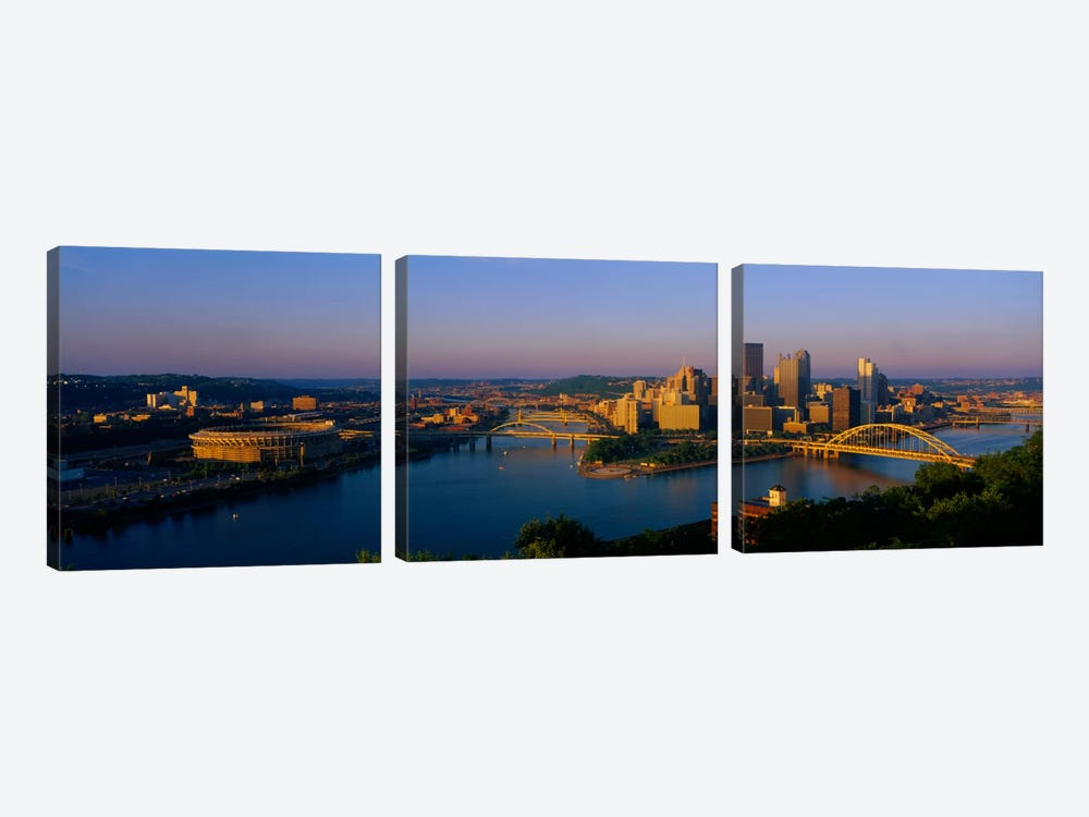High angle view of a cityThree Rivers Stadium, Pittsburgh, Pennsylvania, USA by Panoramic Images 3-piece Canvas Art Print