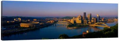 High angle view of a cityThree Rivers Stadium, Pittsburgh, Pennsylvania, USA Canvas Art Print