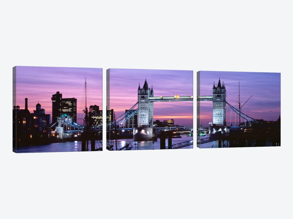 Tower Bridge At Night, London, England, United Kingdom by Panoramic Images 3-piece Canvas Wall Art