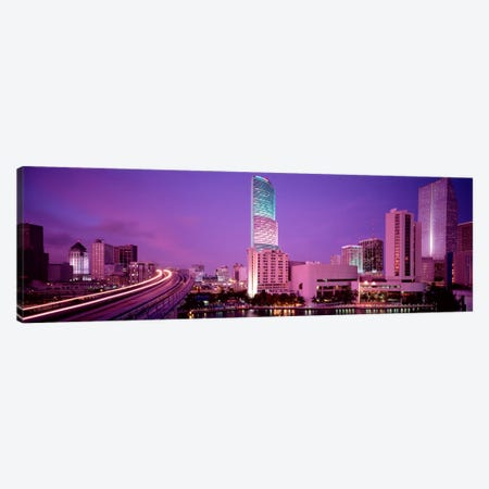 City In The Dusk, Miami, Florida, USA Canvas Print #PIM2020} by Panoramic Images Canvas Print