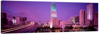 City In The Dusk, Miami, Florida, USA Canvas Art Print
