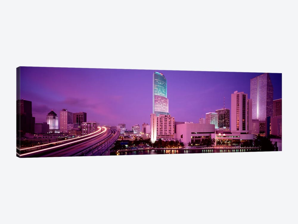 City In The Dusk, Miami, Florida, USA by Panoramic Images 1-piece Canvas Wall Art