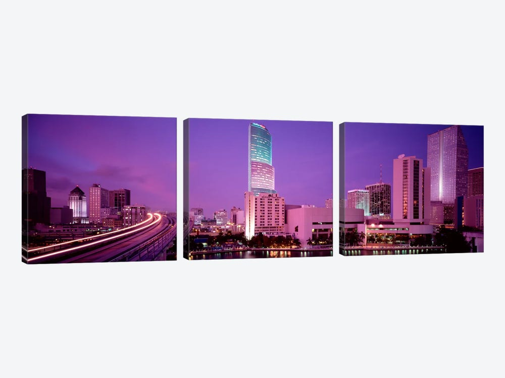 City In The Dusk, Miami, Florida, USA by Panoramic Images 3-piece Canvas Art