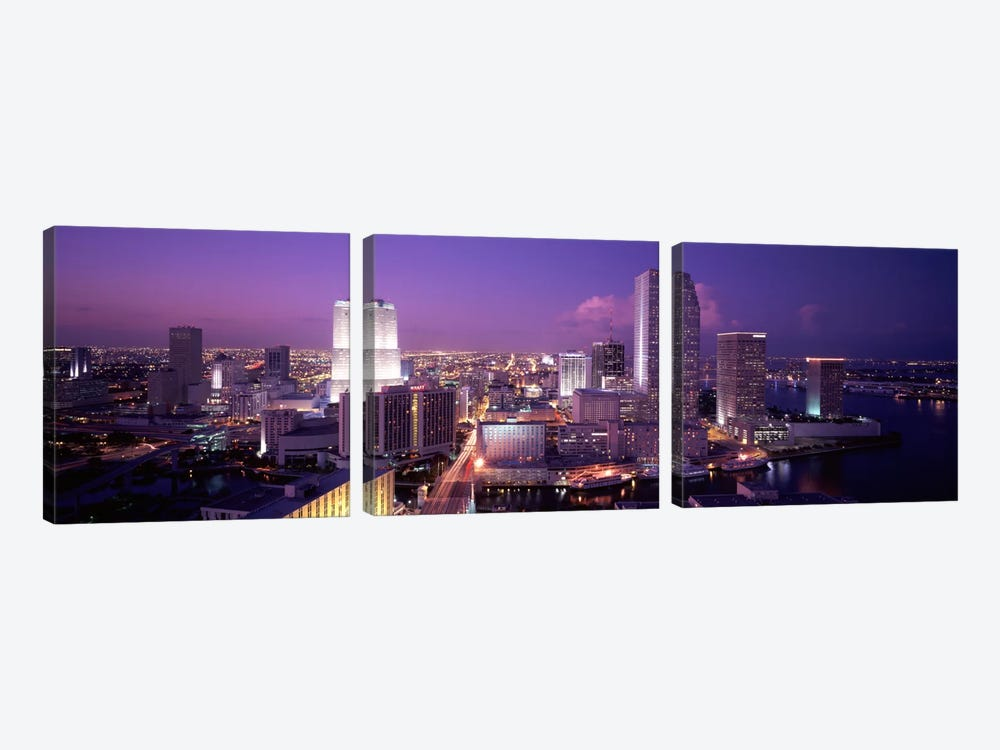 High Angle View Of A City, Miami, Florida, USA 3-piece Canvas Print