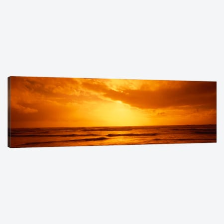 Golden Sunset Over The Pacific Ocean Canvas Print #PIM2024} by Panoramic Images Canvas Artwork