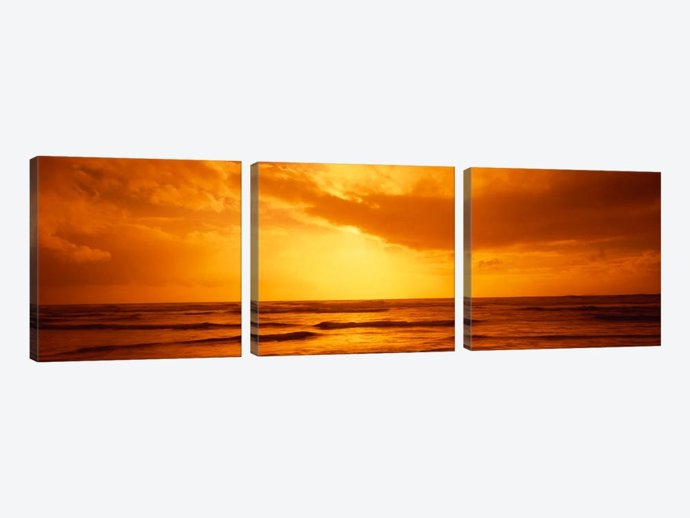 Golden Sunset Over The Pacific Ocean by Panoramic Images 3-piece Canvas Artwork
