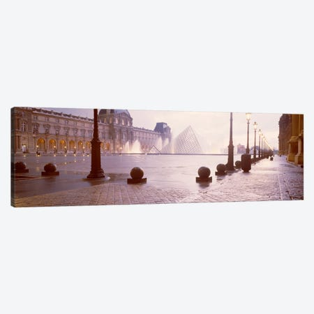 Misty View Of Pyramide du Louvre, Musee du Louvre, Paris, Ile-de-France, France Canvas Print #PIM2026} by Panoramic Images Canvas Art