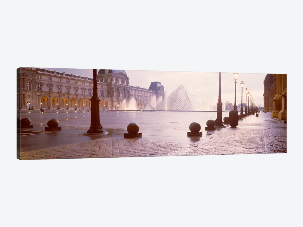 Misty View Of Pyramide du Louvre, Musee du Louvre, Paris, Ile-de-France, France by Panoramic Images 1-piece Canvas Art