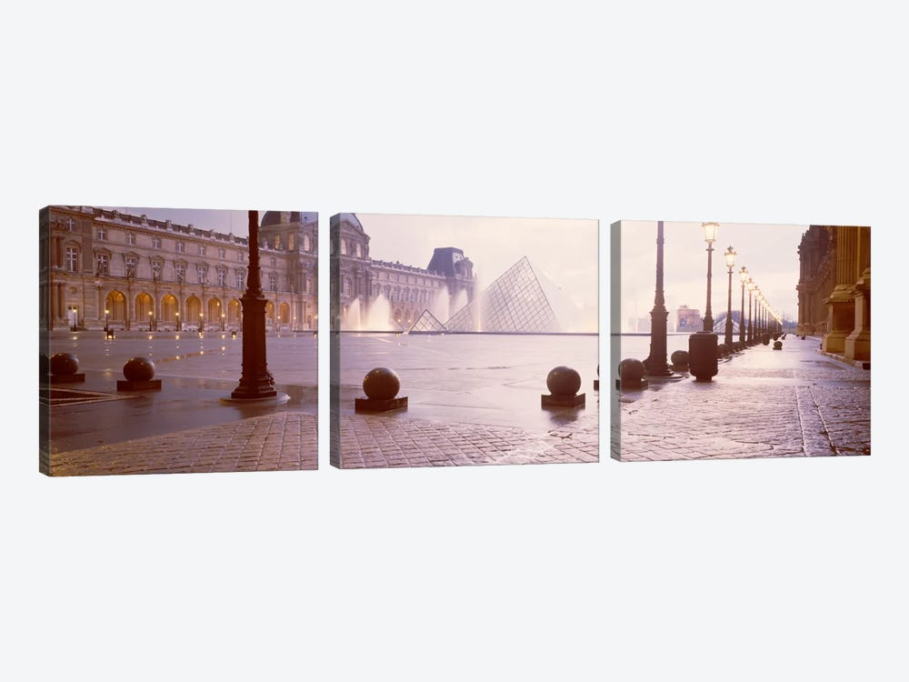 Misty View Of Pyramide du Louvre, Musee du Louvre, Paris, Ile-de-France, France by Panoramic Images 3-piece Canvas Wall Art