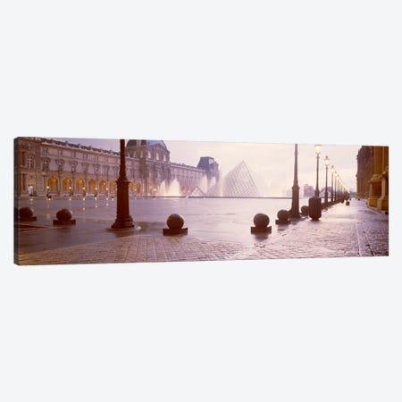 Misty View Of Pyramide du Louvre, Musee du Louvre, Paris, Ile-de-France, France Canvas Print #PIM2026} by Panoramic Images Canvas Art