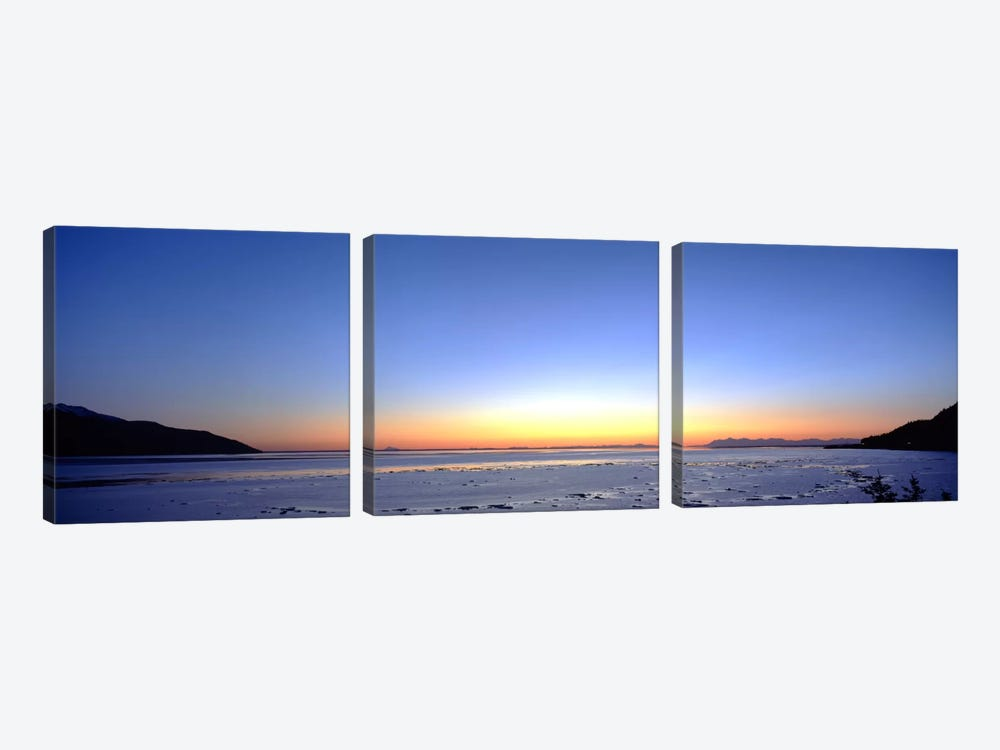 Sunset over the sea, Turnagain Arm, Cook Inlet, near Anchorage, Alaska, USA by Panoramic Images 3-piece Canvas Print