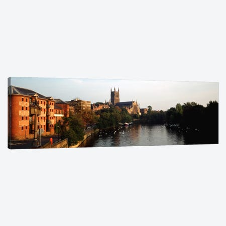 Church Along A RiverWorcester Cathedral, Worcester, England, United Kingdom Canvas Print #PIM202} by Panoramic Images Canvas Art
