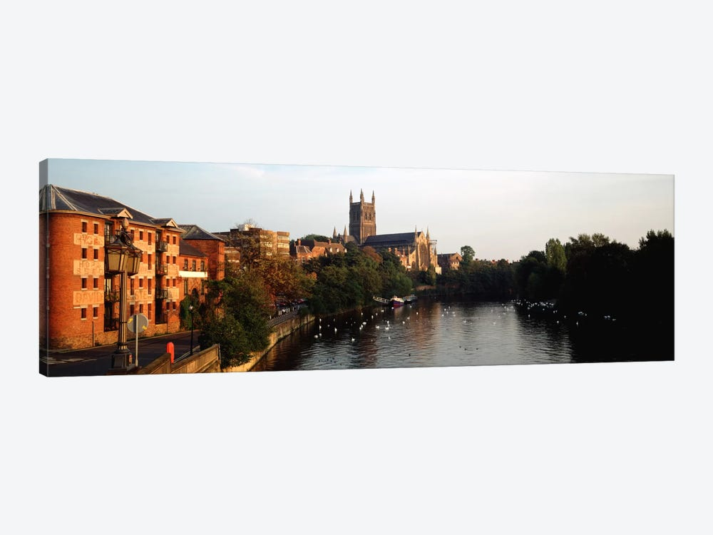 Church Along A RiverWorcester Cathedral, Worcester, England, United Kingdom by Panoramic Images 1-piece Art Print