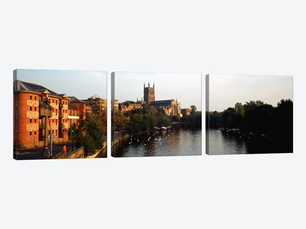 Church Along A RiverWorcester Cathedral, Worcester, England, United Kingdom by Panoramic Images 3-piece Canvas Art Print