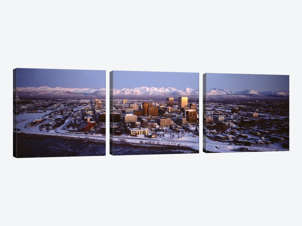 Anchorage at the base of Chugach Mtns AK USA by Panoramic Images 3-piece Canvas Wall Art