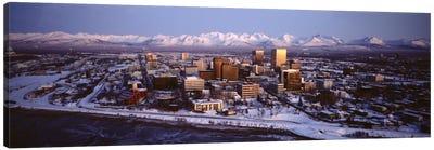 Anchorage at the base of Chugach Mtns AK USA Canvas Art Print