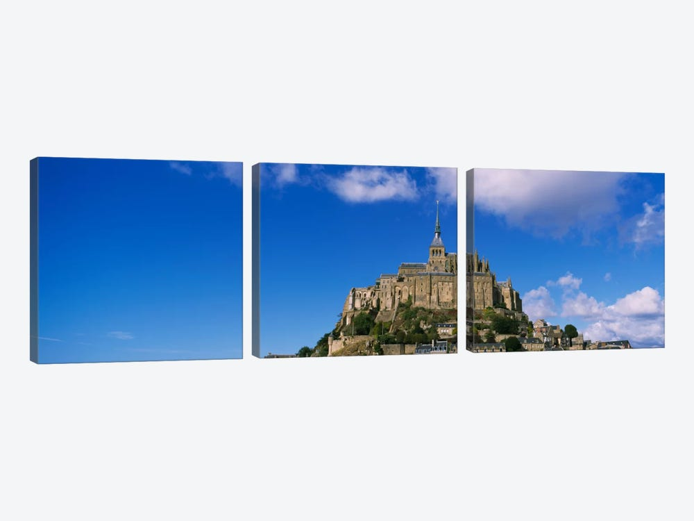 Road leading towards a church, Le Mont Saint Michel, Normandy, France by Panoramic Images 3-piece Canvas Print