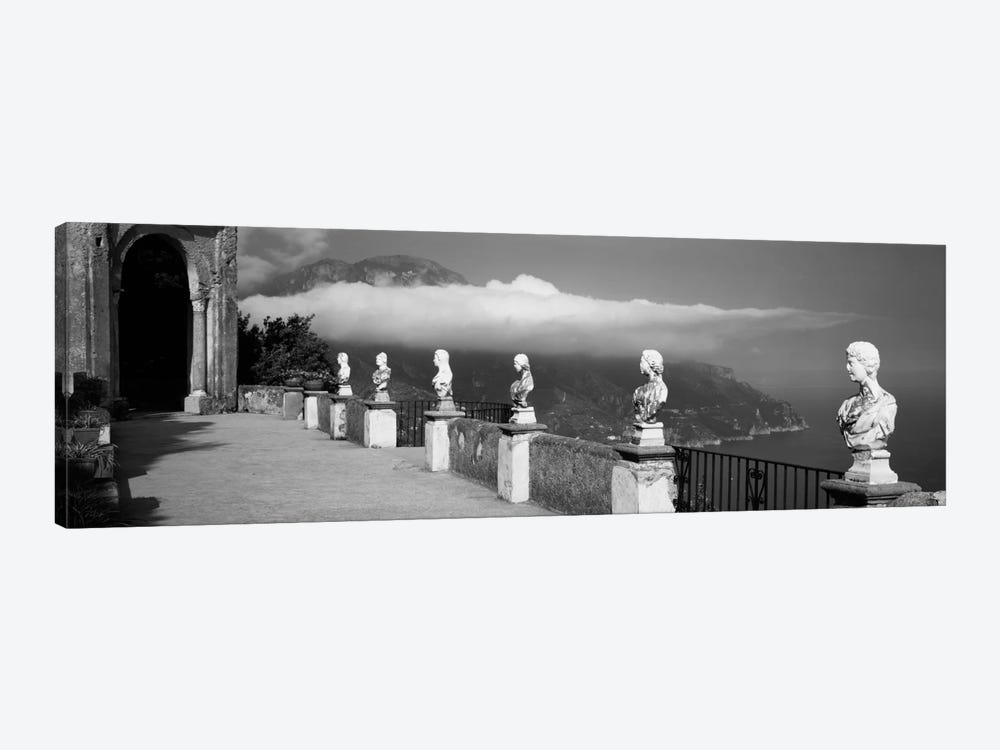 Marble busts along a walkway, Ravello, Amalfi Coast, Salerno, Campania, Italy by Panoramic Images 1-piece Canvas Art