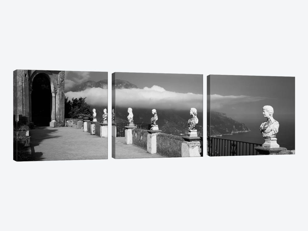 Marble busts along a walkway, Ravello, Amalfi Coast, Salerno, Campania, Italy by Panoramic Images 3-piece Canvas Art