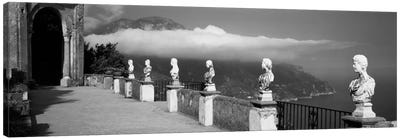 Marble busts along a walkway, Ravello, Amalfi Coast, Salerno, Campania, Italy Canvas Art Print
