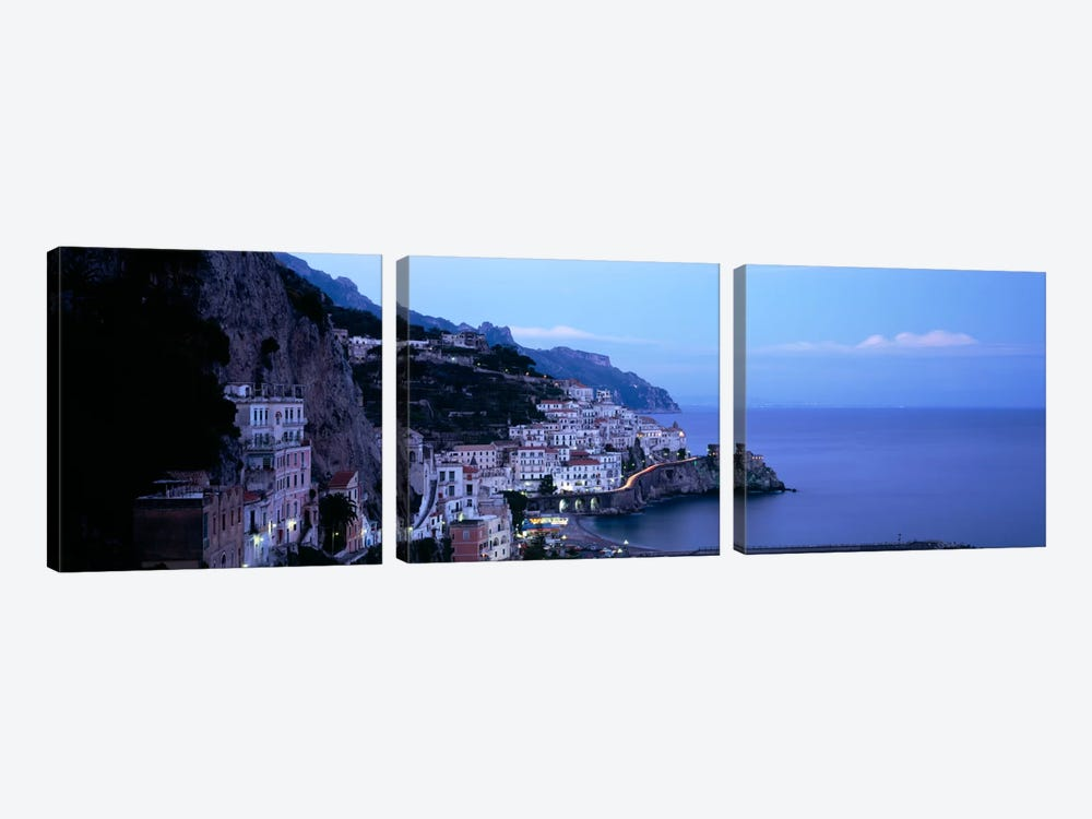 High-Angle View Of Amalfi, Amalfi Coast, Salerno, Campania, Italy by Panoramic Images 3-piece Canvas Print