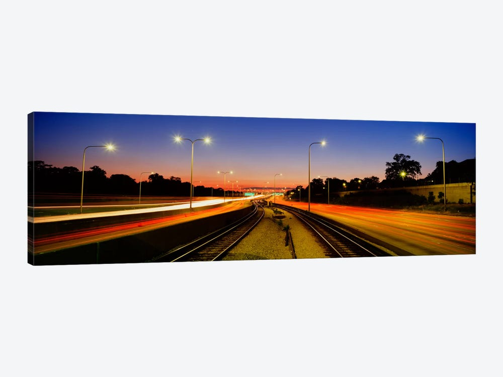Traffic Moving In The City, Mass Transit Tracks, Kennedy Expressway, Chicago, Illinois, USA by Panoramic Images 1-piece Canvas Wall Art