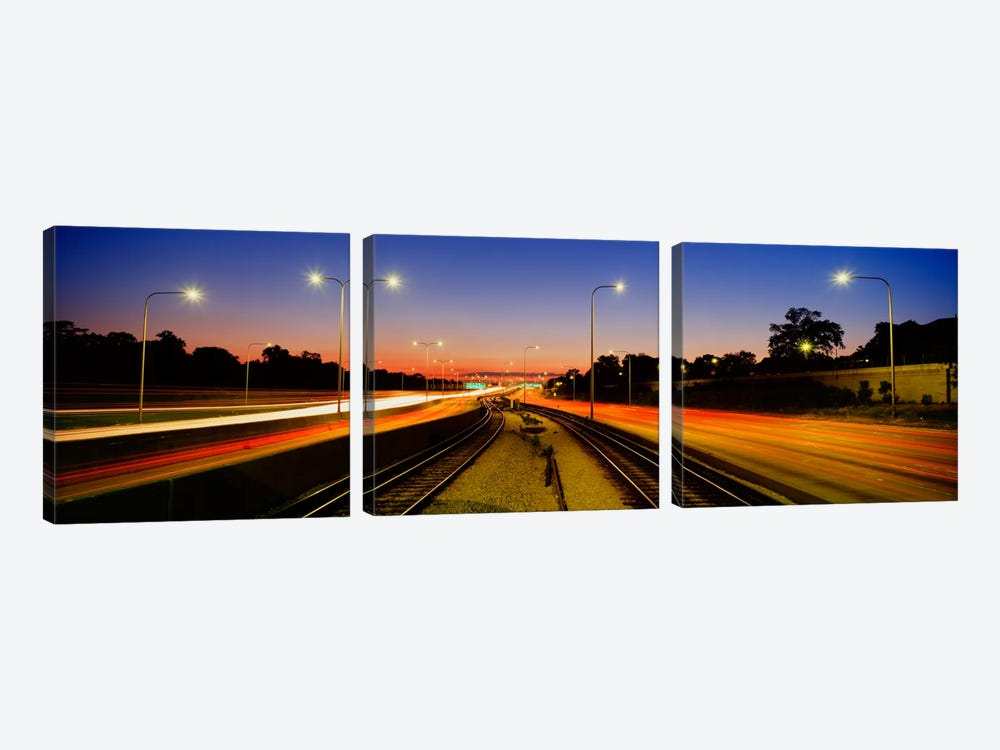Traffic Moving In The City, Mass Transit Tracks, Kennedy Expressway, Chicago, Illinois, USA by Panoramic Images 3-piece Canvas Artwork