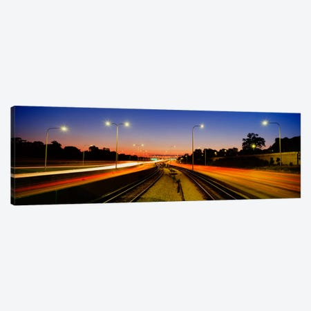 Traffic Moving In The City, Mass Transit Tracks, Kennedy Expressway, Chicago, Illinois, USA Canvas Print #PIM2035} by Panoramic Images Canvas Art Print