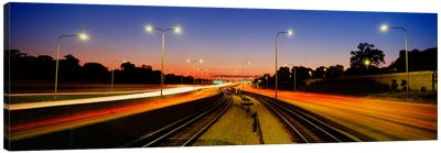 Traffic Moving In The City, Mass Transit Tracks, Kennedy Expressway, Chicago, Illinois, USA Canvas Art Print