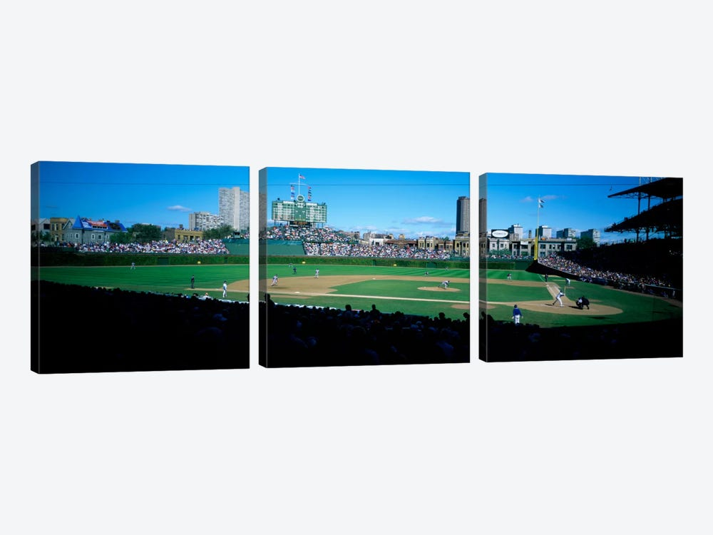 Baseball match in progressWrigley Field, Chicago, Cook County, Illinois, USA by Panoramic Images 3-piece Canvas Art Print