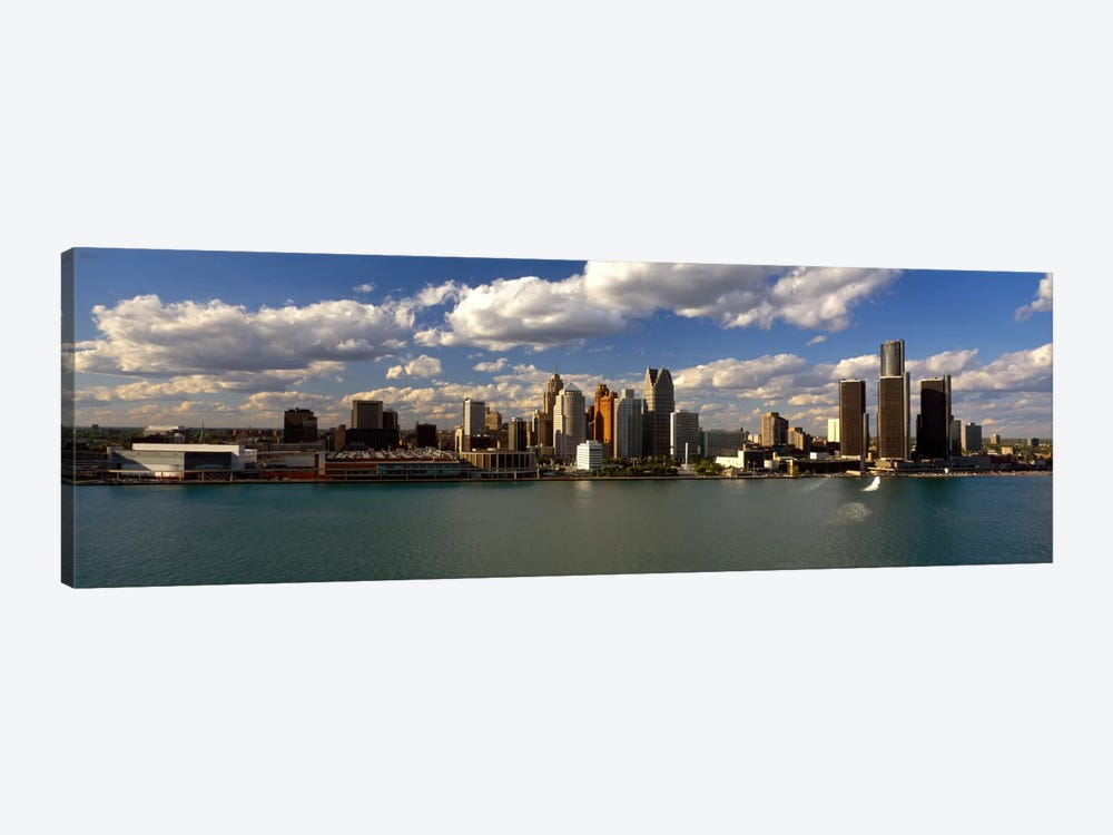 Buildings at the waterfront, Detroit River, Detroit, Wayne County, Michigan, USA by Panoramic Images 1-piece Canvas Print