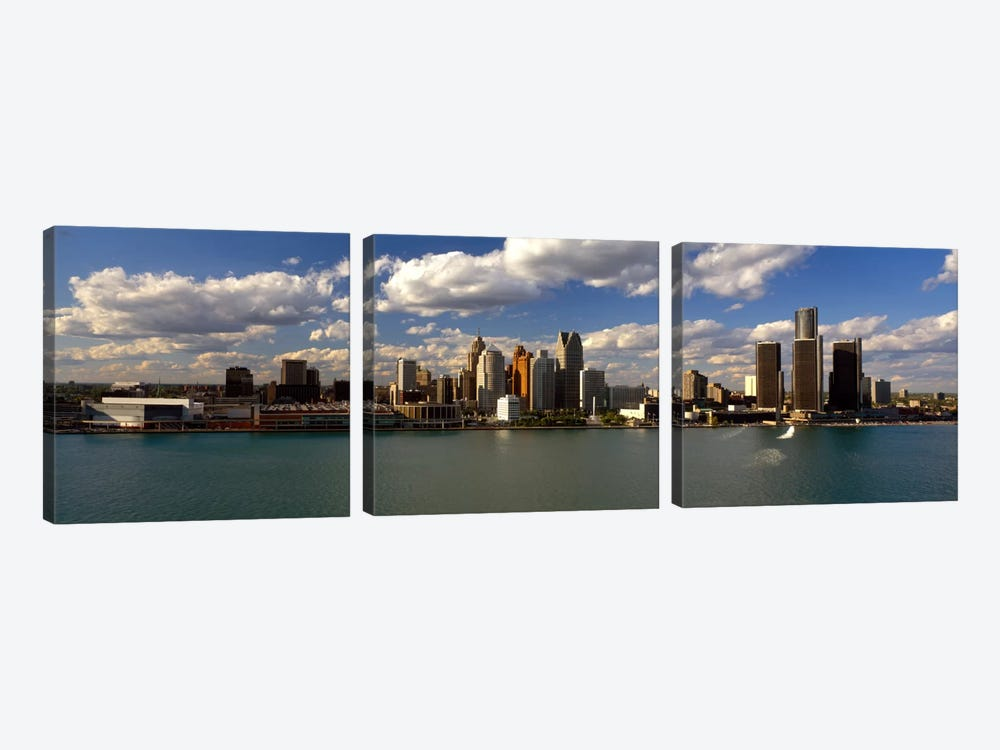 Buildings at the waterfront, Detroit River, Detroit, Wayne County, Michigan, USA by Panoramic Images 3-piece Canvas Art Print