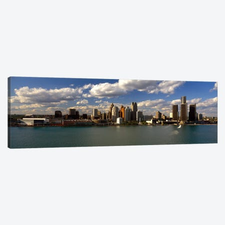 Buildings at the waterfront, Detroit River, Detroit, Wayne County, Michigan, USA 3-Piece Canvas #PIM2041} by Panoramic Images Canvas Print