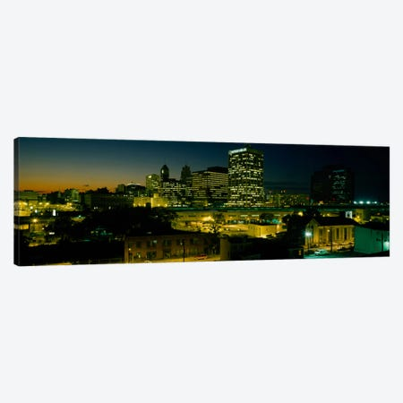 City lit up at nightNewark, New Jersey, USA Canvas Print #PIM2044} by Panoramic Images Canvas Wall Art