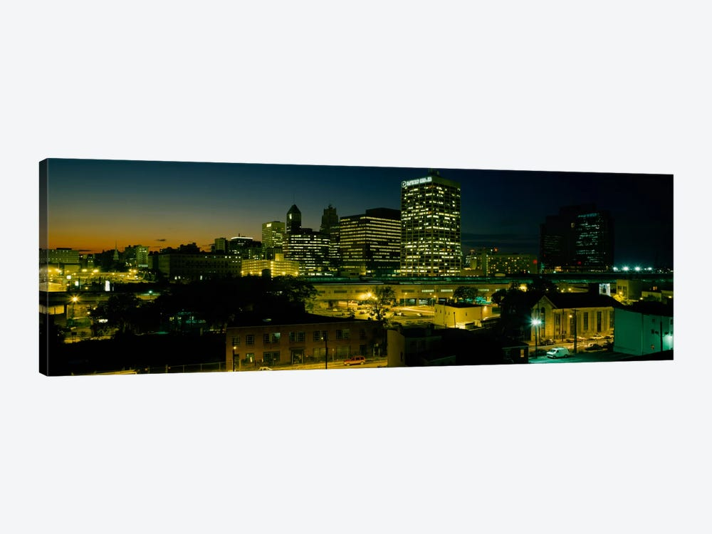 City lit up at nightNewark, New Jersey, USA by Panoramic Images 1-piece Canvas Art