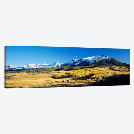 Aerial View Of Last Dollar Ranch With Sneffels Range In The Background, Colorado, USA Canvas Print #PIM204} by Panoramic Images Art Print