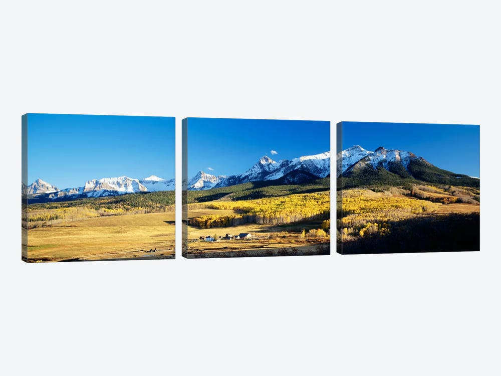 Aerial View Of Last Dollar Ranch With Sneffels Range In The Background, Colorado, USA by Panoramic Images 3-piece Art Print