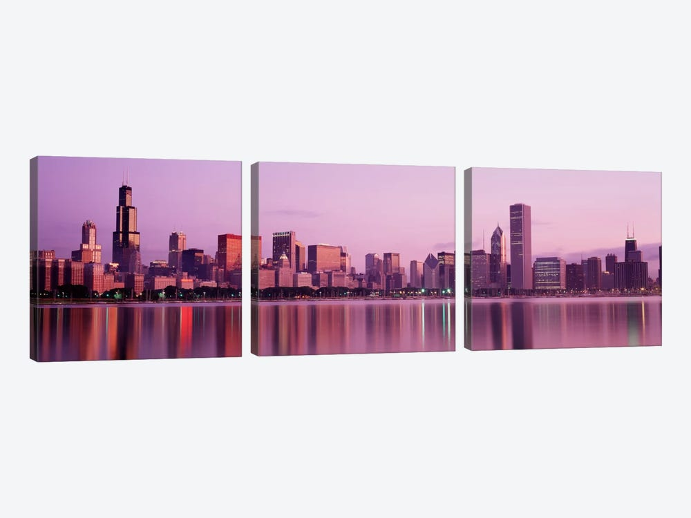 City on The waterfront, Chicago, Illinois, USA by Panoramic Images 3-piece Canvas Art Print